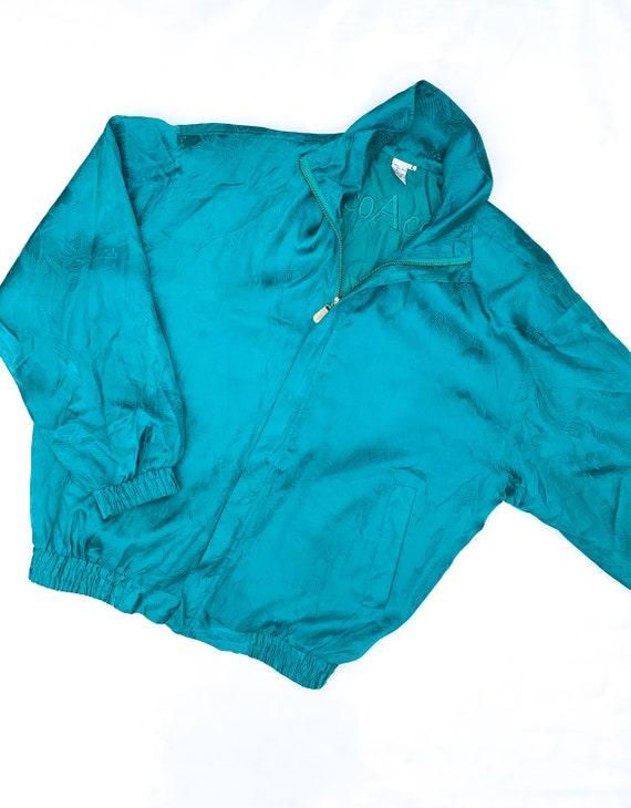 80's Floral Textured Silk Bomber Jacket