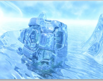 """Fractal image - """"Icy cube"""" - mural"""