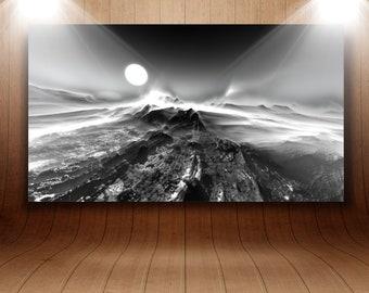 """Mural acrylic glass """"Foggy Mountains"""""""