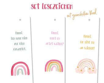 Bookmarks, set, rainbow, children, school enrollment, personalized