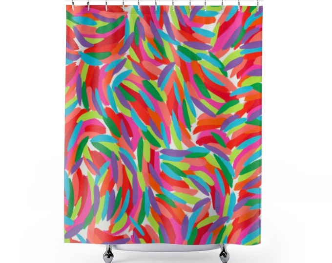 Painting-based shower curtain
