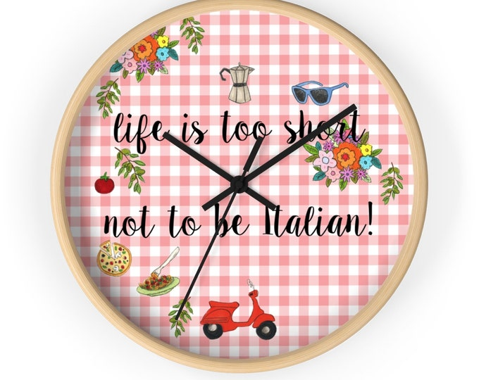 ITALIAN Wall clock | Lovely Silent Kitchen Wall Clock | Funny Whimsical Wall Clock | Original Wall Clock