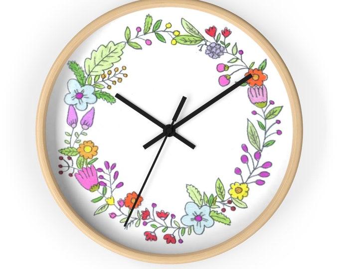 SPRING Wall clock  | Floral Wooden Round Wall Clock | Hand Drawn Silent Kitchen Wall Clock | Flower Wreath Wall Clock