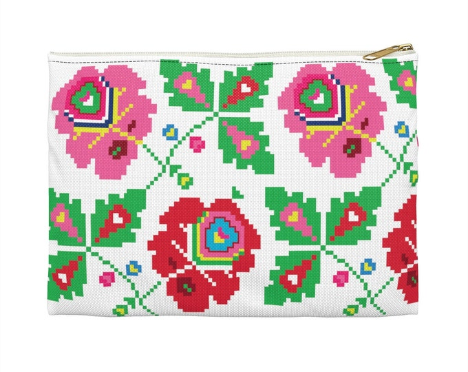 FOLKLORIC White Makeup Cosmetic Accessory Pouch