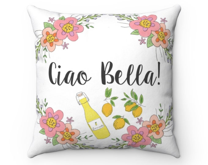 CIAO BELLA Pillow | Cute Illustrated Cushion | Italian Floral Lovely Pillow