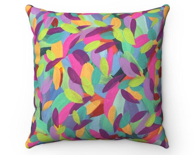 JOY pillow   Art Printed Cushion   Fun Colorful Pillow   Modern Design Pillow   Colorful Printed Indoor Pillow