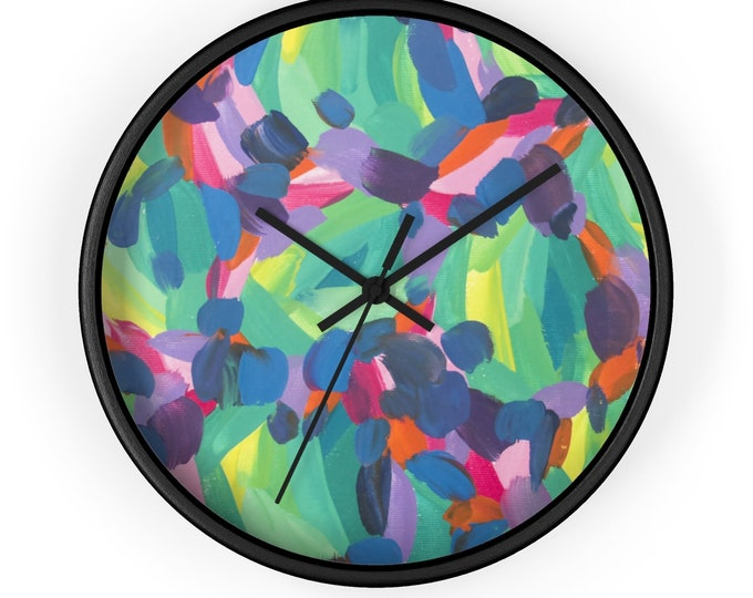 FLOW Wall clock | Unique Art Designed Wall Clock | Rich Colorful Wall Clock | Lovely Silent Wall Clock