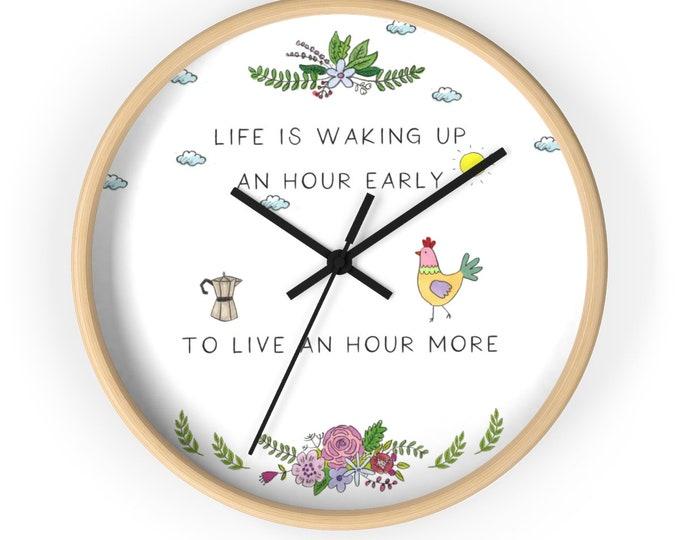 LIFE Wall clock | Inspirational Wall Clock | Original Illustrated Wall Clock | Motivating Unique Wall Clock