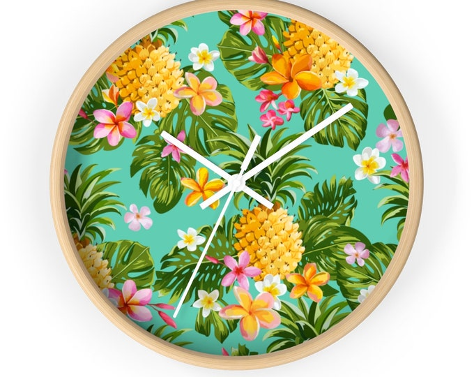 PINEAPPLE Wall clock | Tropical Wooden Round Wall Clock | Silent Kitchen Wall Clock | Beach House and Holiday Fun Decor