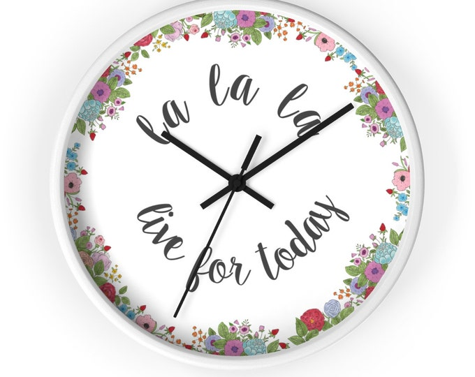 LIVE FOR TODAY Wall clock | Inspirational Silent Wall Clock | Cute Wooden Wall Clock | Floral Wall Clock