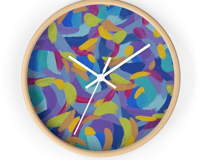 FUN Wall clock | Colorful Wooden Round Wall Clock | Silent Kitchen Wall Clock  |  Fun Home Decor