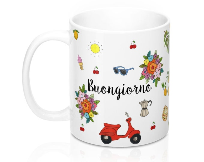 BUONGIORNO Mug | Hand Illustrated Print Mug | Italian Good Morning Mug