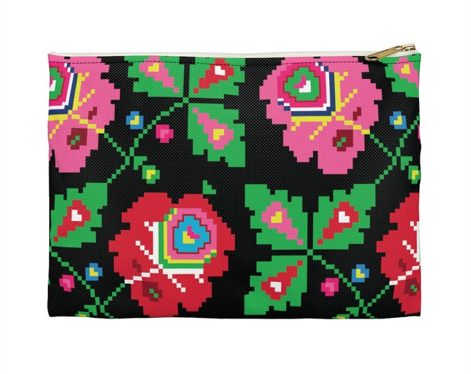 FOLKLORIC Black Makeup Cosmetic Accessory Pouch