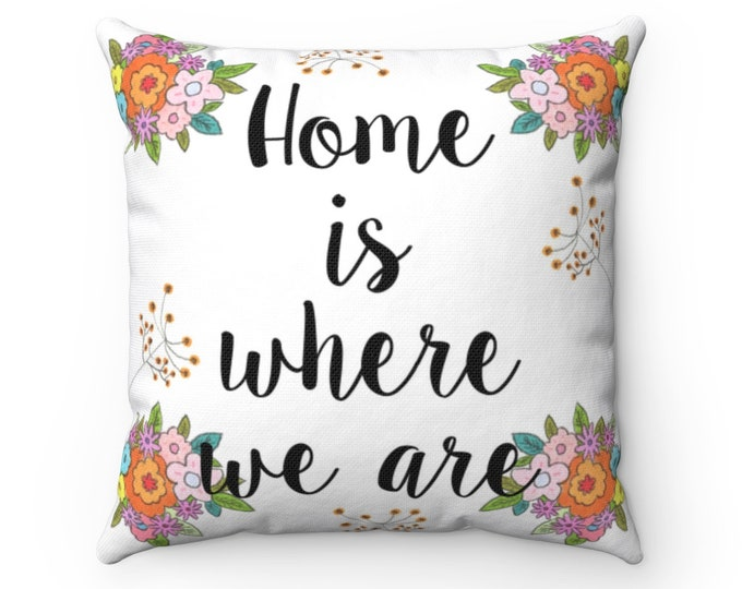 HOME Pillow | Cute Text Pillow | Original Design Indoor Cushion | Delicate Floral Pillow