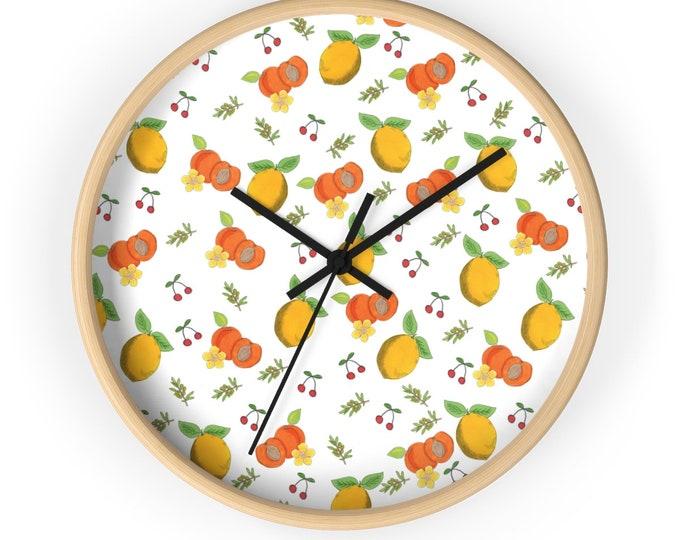 LEMONS & PEACHES Wall clock   Cute Silent Wall Clock   Hand Drawn Illustrated Wall Clock   Original Wooden Wall Clock