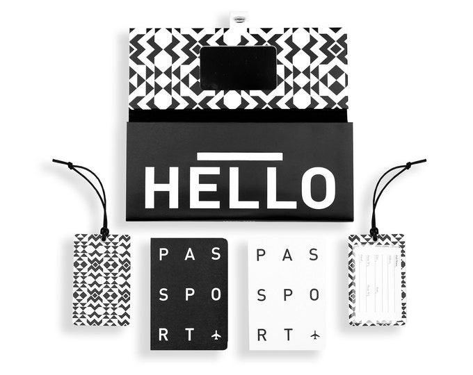 TRIP KIT Black&White /// Traveling wallet /// Traveling accessories /// Passport covers /// Luggage tags