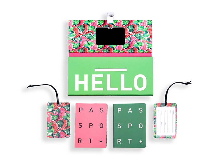 TRIP KIT Pink Flamingo /// Travelling case /// Travelling accessory /// Luggage tags /// Passport cover