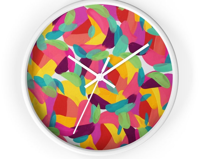 BRIGHT HEART Wall clock  | Colorful Wooden Round Wall Clock | Silent kitchen Wall Clock | Home Fun Decor