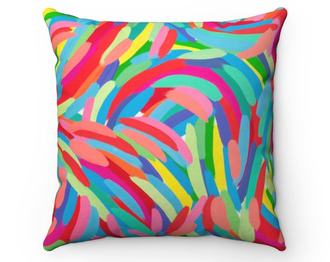 LIFE pillow | Art Printed Cushion | Fun Colorful Pillow | Modern Design Pillow | Colorful Printed Indoor Pillow