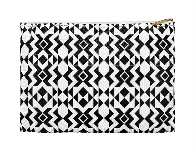 BLACK & WHITE Makeup Cosmetic|  Accessory Pouch With Pattern |  Pencil Bag  | Fun Gift Idea