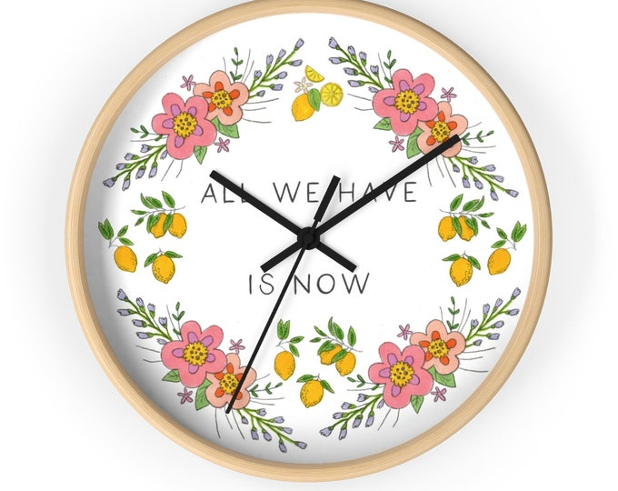 NOW Wall clock | illustrated Silent Wall Clock | Inspirational Lovely Wall Clock | Positive Reminder Wall Clock