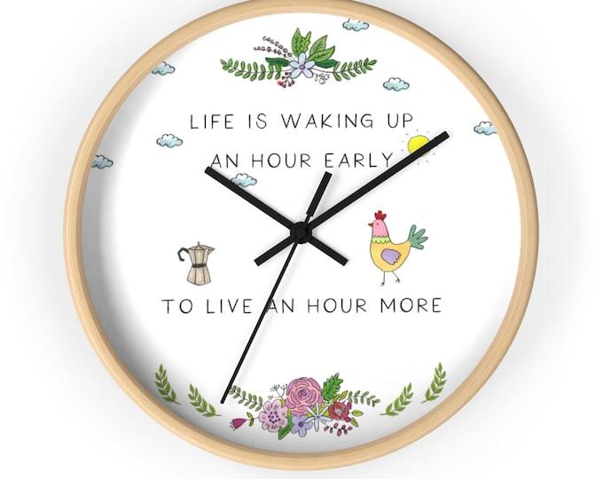 LIFE Wall clock   Inspirational Wall Clock   Original Illustrated Wall Clock   Motivating Unique Wall Clock