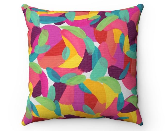 BRIGHT HEART Pillow | Original Art Printed Cushion | Abstract Colorful Art Throw pillow | Modern Decorative Pillow
