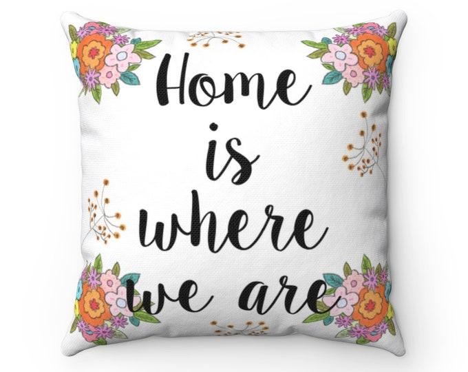HOME Pillow | Cute Text Pillow | Original Design Indoor Cushion | Delicate Floral Pillow