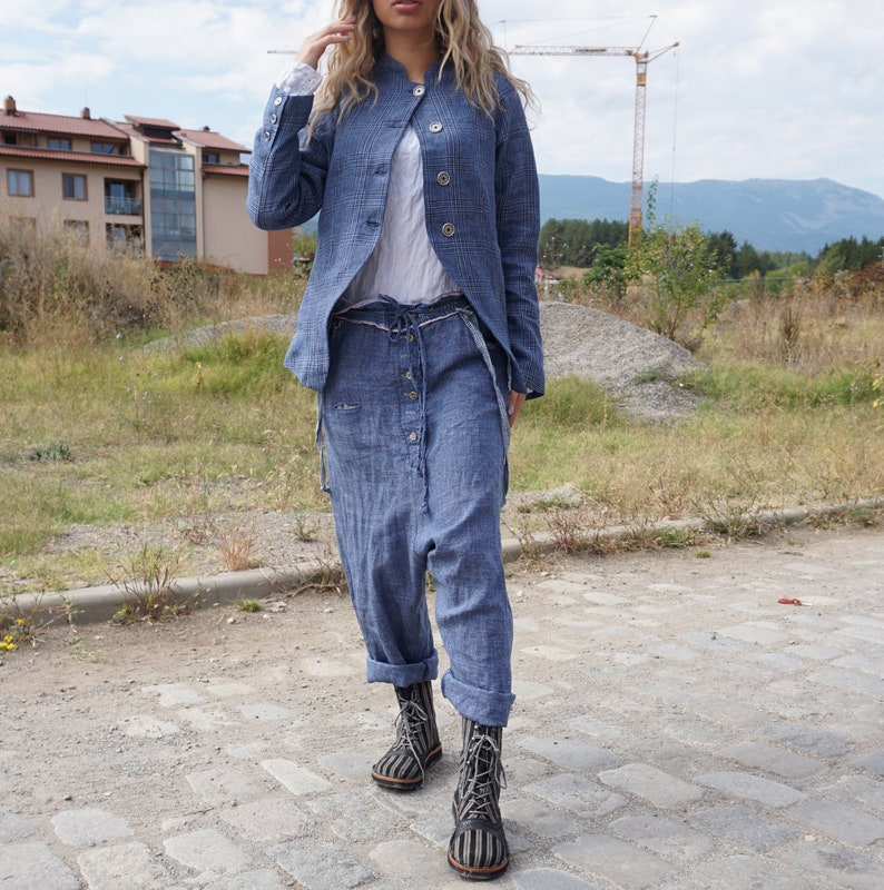 Baggy Pants Fall Outfit Harem Pants Wide Legs Pants Autumn Pants Drop Crotch Linen Denim Pants Plus Size Clothing Wool Linen Pants