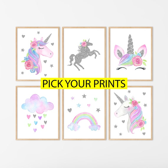 pink nursery wall art girly decor educational school printable girls numbers poster toddler art different sizes Unicorn numbers print