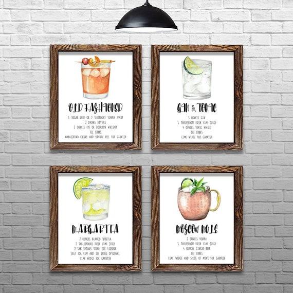 Antigua Bebidas Cartel Cóctel Receta ilustraciones Dormitorio Pared Arte Enmarcado