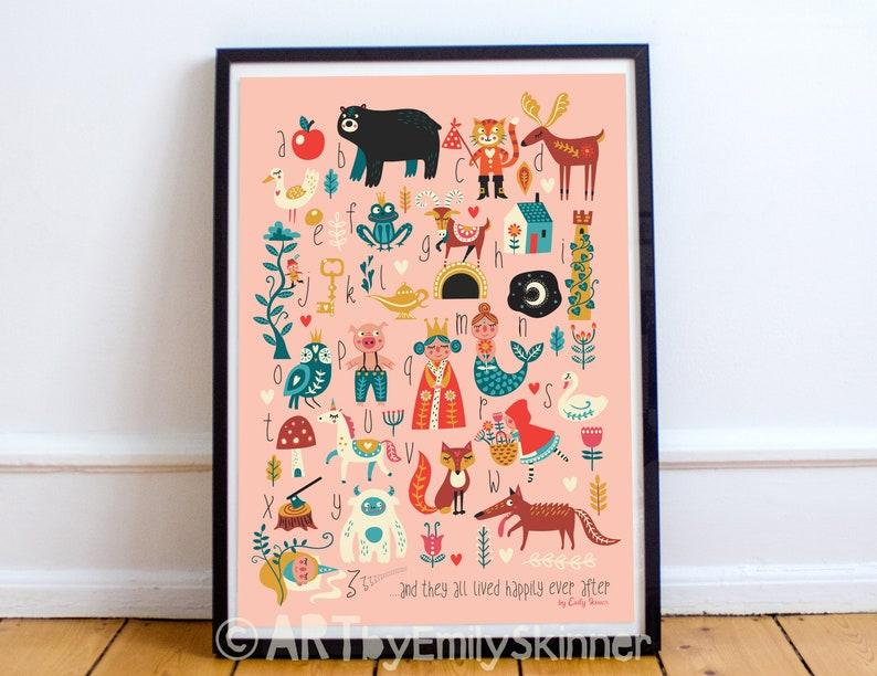 A3 Fairytale ABC print alphabet poster kids wall art girls image 0