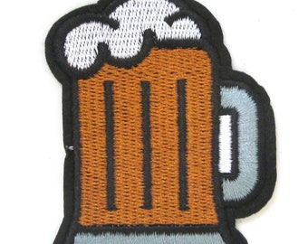 Draft Mug W//Sequins Beer Embroidered Iron On Patch Brew Bar