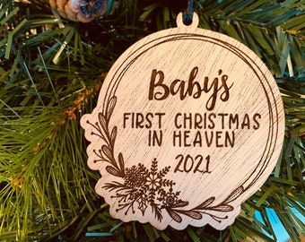Snowflake Baby's first Christmas in Heaven ornament, catholic christian miscarriage gift for baby loss
