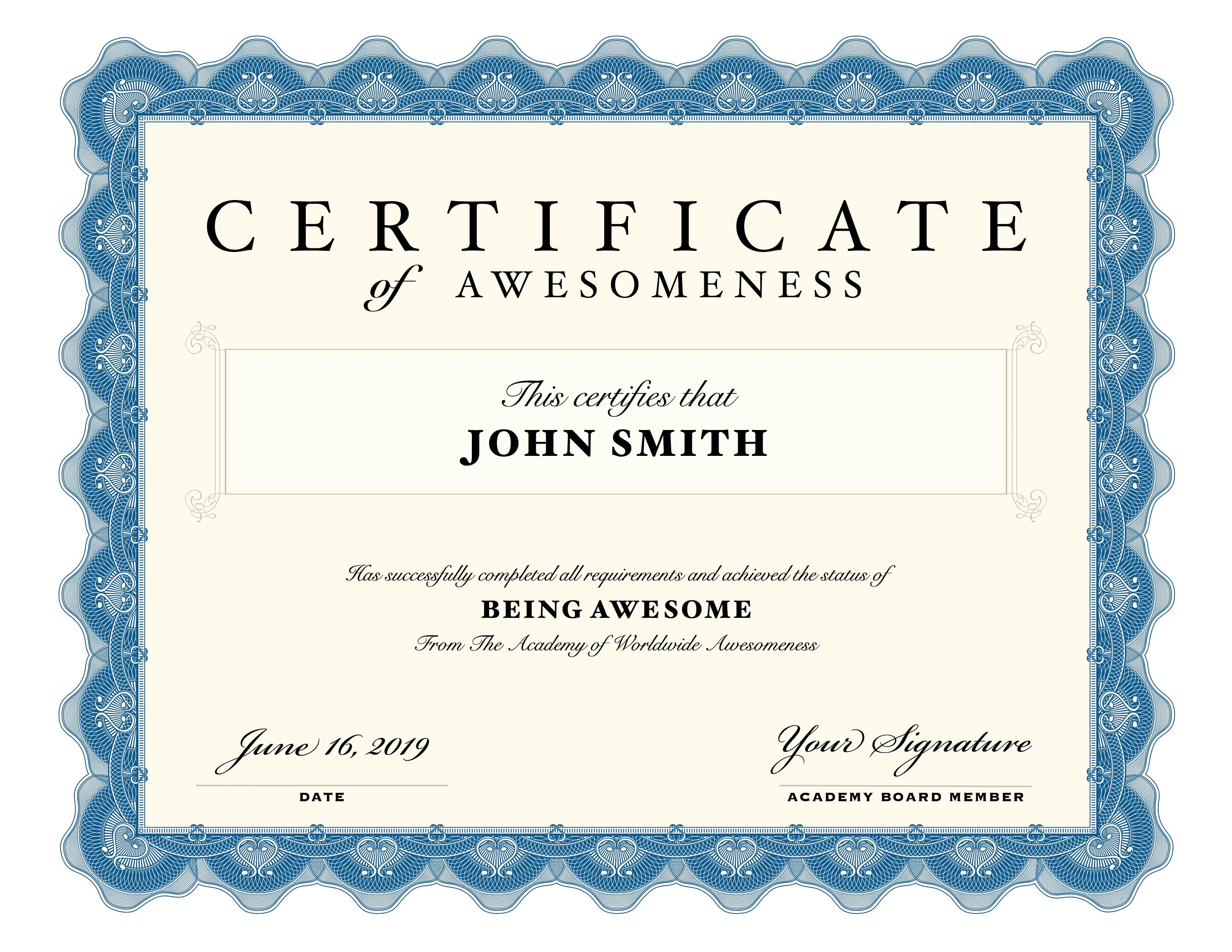 Editable Printable Certificates Certificate Of Awesomeness Etsy