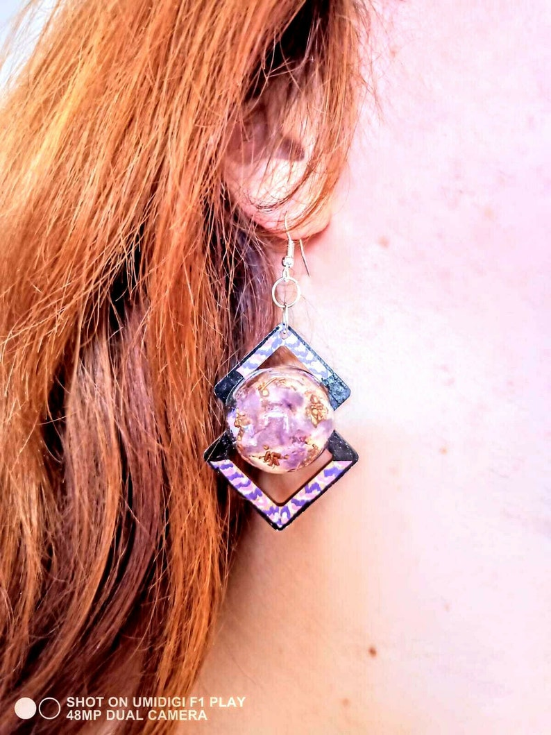 Orgone earrings Copper Amethyst,crystals,natural wood,chakra,reiki,yoga