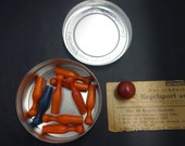 Really neat cool antique vintage wooden miniature bowling set wooden in old kodak film tin with instructions in German 9 pins and ball
