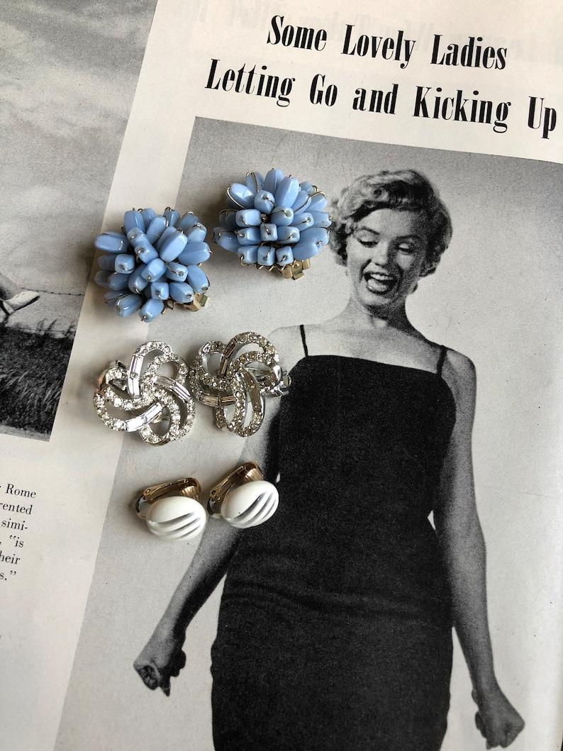 Beautiful Vintage 195060s Earring Lot  ClustersRhinestonesStuds