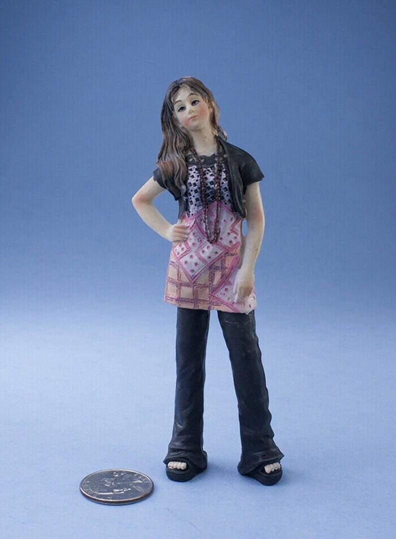 Dollhouse Miniature Teen Girl White Top W// Blue Shorts