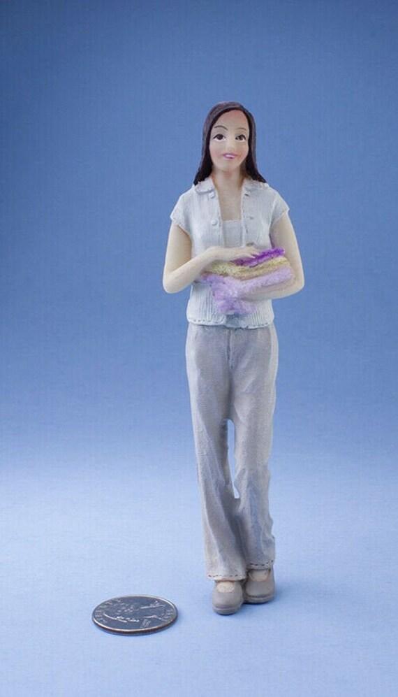 Boy with Bear Dollhouse Miniature Resin Doll HW3088 PJ