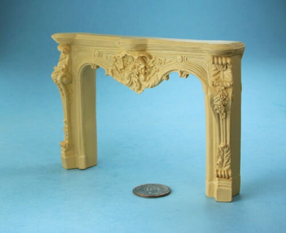 1:12 Scale Dollhouse Miniature Fancy Carved Fireplace Mantle #SDF695