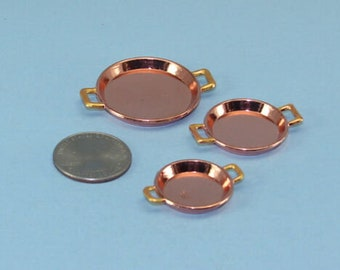 Best Quality Dollhouse Miniature or Barbie Scale Set of 3 Copper & Brass Metal Serving Trays with Handles #ZB11