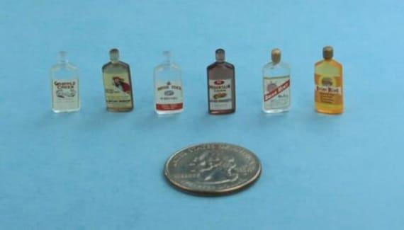 NICE Set of 10 Assorted Dollhouse Miniature Plastic Liquor Bottles #WCKA313B
