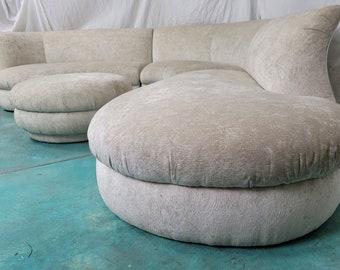 Vintage Serpentine Kagan Sectional Sofa With Ottoman