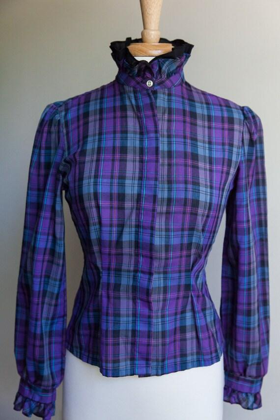 Vintage 70s plaid prairie ruffle blouse, 70s plai… - image 1