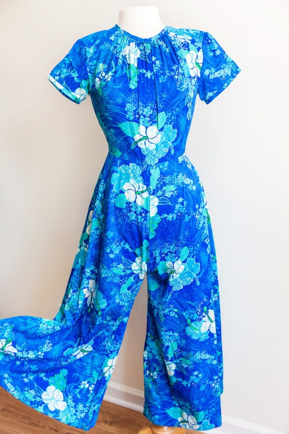 vintage blue Hawaii jumpsuit, 1960s 60s Hawaiian w