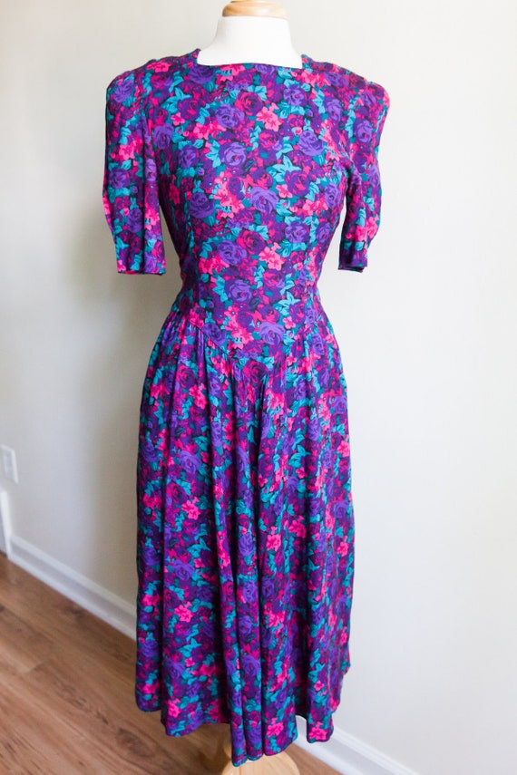 vintage bright rose garden midi dress, 1980s 80s p