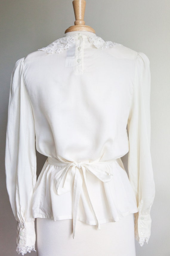 vintage pleated lace collar blouse, 1980s 80s ivo… - image 5