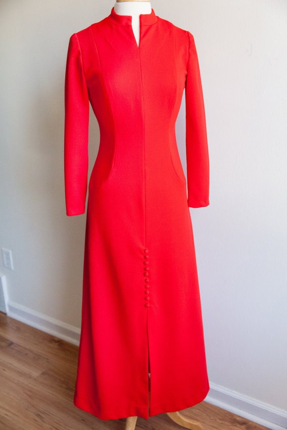 vintage candy apple red maxi dress, 1970s 70s red
