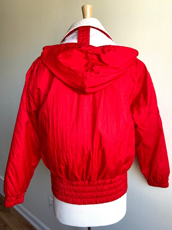 vintage candy apple red puffer coat, 1980s 80s re… - image 6